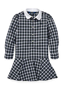 Girls 4 - 6X Plaid Cotton Poplin Shirtdress