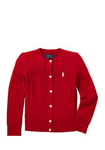 Girls 4-6x Cable-Knit Cotton Cardigan