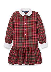 Girls 4-6X Plaid Poplin Dress