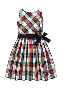 Girls 4 - 6X Tartan Fit-and-Flare Dress