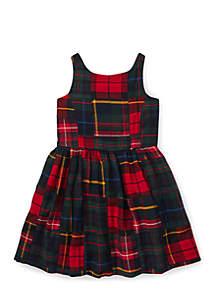 Girls 4 - 6X Tartan Patchwork Cotton Dress