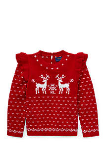 Girls 4-6x Ruffled Reindeer Sweater
