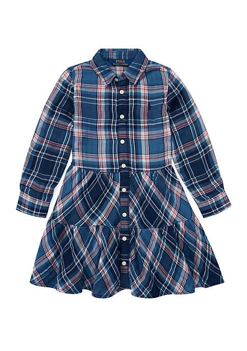 Ralph Lauren Childrenswear Girls 4-6x Tiered Plaid Cotton
