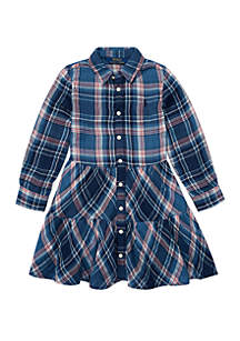 Girls 4-6x Tiered Plaid Cotton Shirtdress