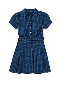 Girls 4-6x Print Cotton Poplin Dress