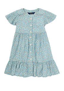 Girls 4-6x Shirred Floral Dress
