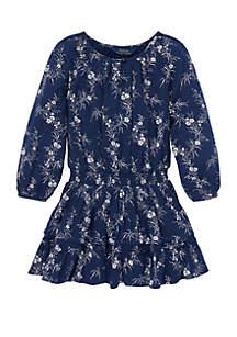 Girls 4-6x Floral Gauze Boho Dress