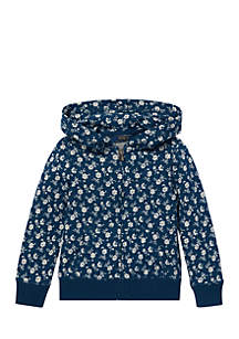 Girls 4-6x Floral-Print Cotton Hoodie