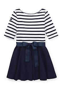 Girls 4-6x Striped Jersey-Ponte Dress