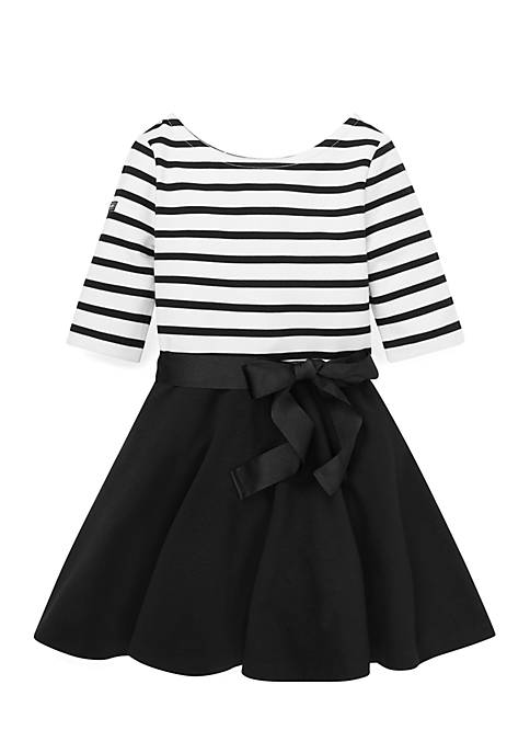 Ralph Lauren Childrenswear Girls 4-6x Striped Jersey-Ponte Dress