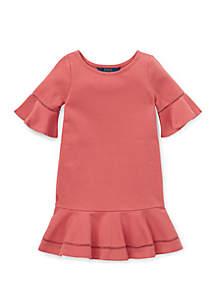 Girls 4-6x Ponte Inset-Lace Dress