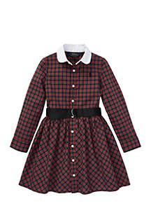 Girls 4 - 6X Plaid Poplin Shirtdress