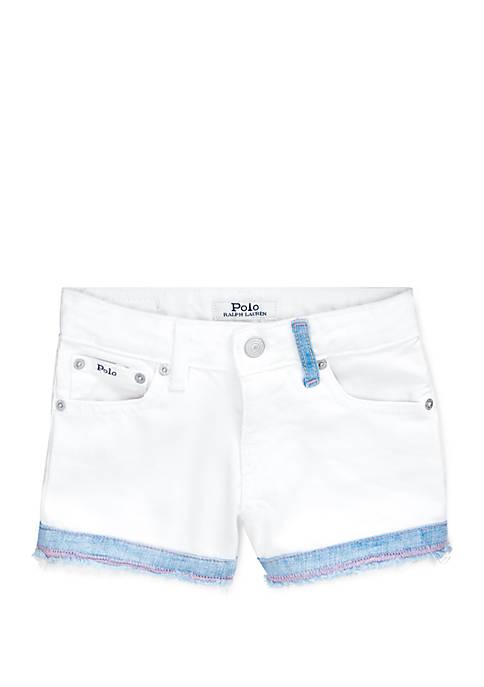 Ralph Lauren Childrenswear Girls 4-6x White Denim Shorts