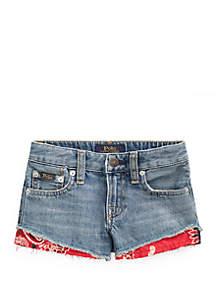 Ralph Lauren Childrenswear Girls 4-6x  Bandanna-Trim Denim Shorts