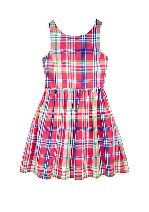 Girls 4-6x Madras Plaid Cotton Dress