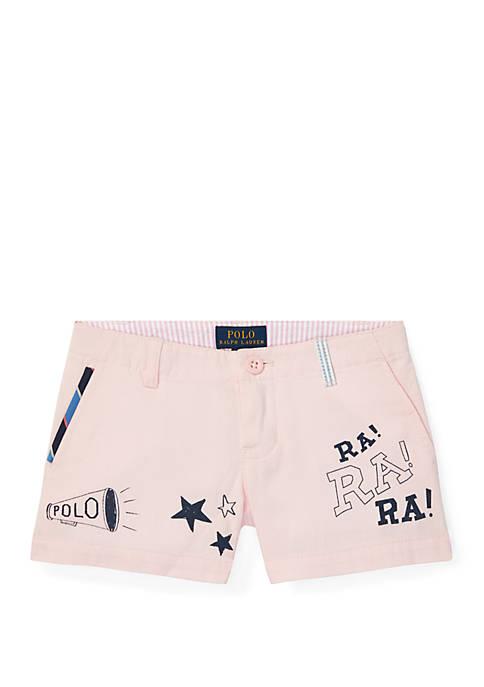 Ralph Lauren Childrenswear Girls 4-6x Chino Graphic Shorts