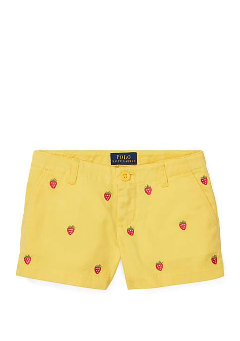 Girls 4-6x Embroidered Chino Shorts