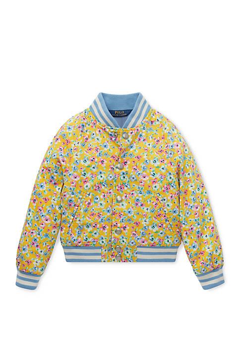 Girls 4-6x Floral Baseball Jacket