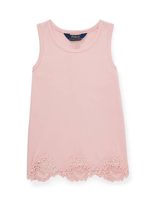 Ralph Lauren Childrenswear Girls 4-6x Lace Trim Cotton