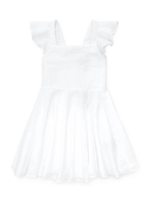 Girls 4-6x Windowpane Cotton Dress