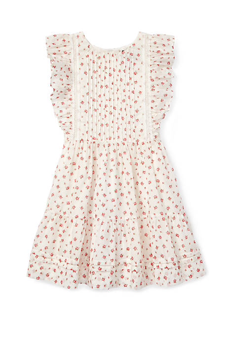 Girls 4-6x Floral Ruffled Cotton Dress