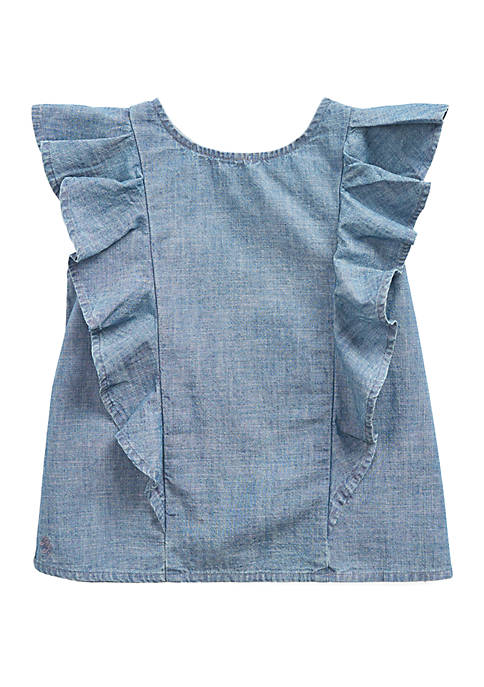 Ralph Lauren Childrenswear Girls 4-6x Ruffled Indigo Chambray