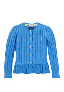 Girls 4-6x Cotton Peplum Cardigan