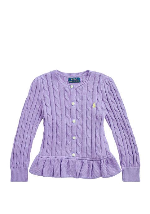 Ralph Lauren Childrenswear Girls 4-6x Cotton Peplum Cardigan