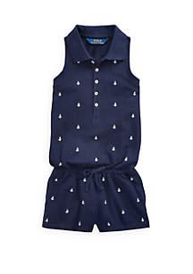 Ralph Lauren Childrenswear Girls 4-6x Anchor Cotton Mesh Romper