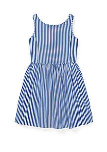 Ralph Lauren Childrenswear Girls 4-6x Bengal Stripe Cotton Dress