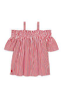 Ralph Lauren Childrenswear Girls 4-6 Cotton Off The Shoulder Top
