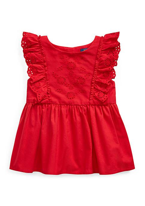 Ralph Lauren Childrenswear Girls 4-6 Ruffled Eyelet Cotton