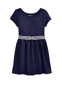 Ralph Lauren Childrenswear Girls 4-6x Bow Stretch Ponte Dress