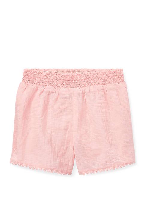 Ralph Lauren Childrenswear Girls 4-6x Smocked Cotton Shorts