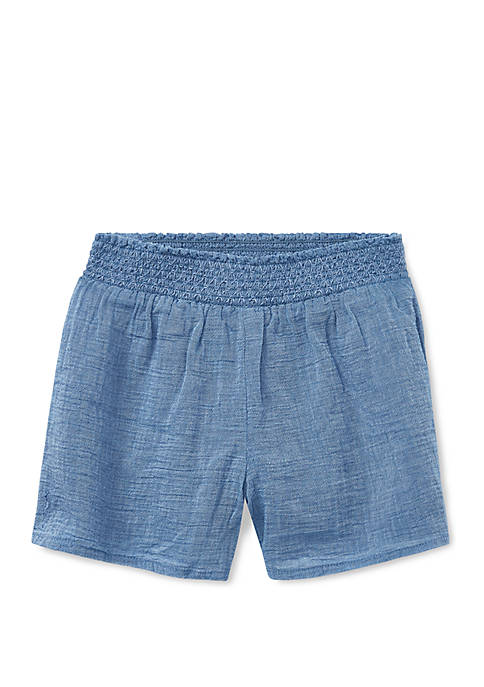 Girls 4-6x Smocked Chambray Shorts