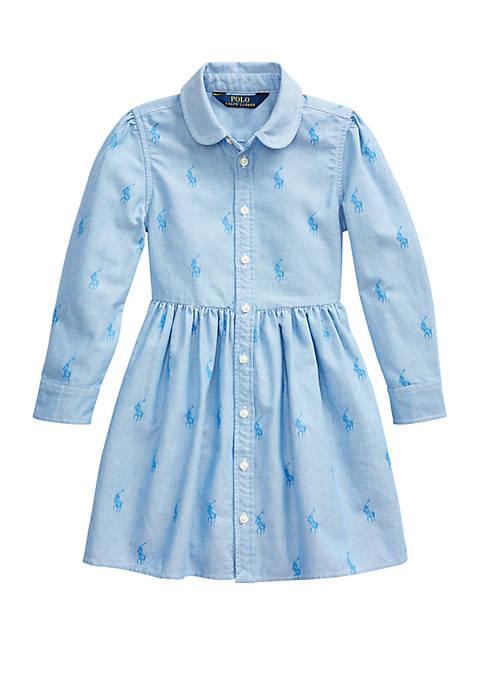 Girls 4-6x Pony Cotton Shirtdress