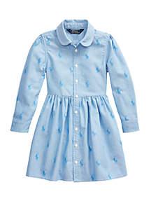 Ralph Lauren Childrenswear Girls 4-6x Pony Cotton Shirtdress