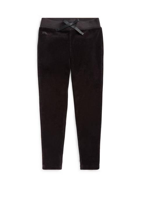 Ralph Lauren Childrenswear Girls 4-6x Velour Cotton-Blend Pant
