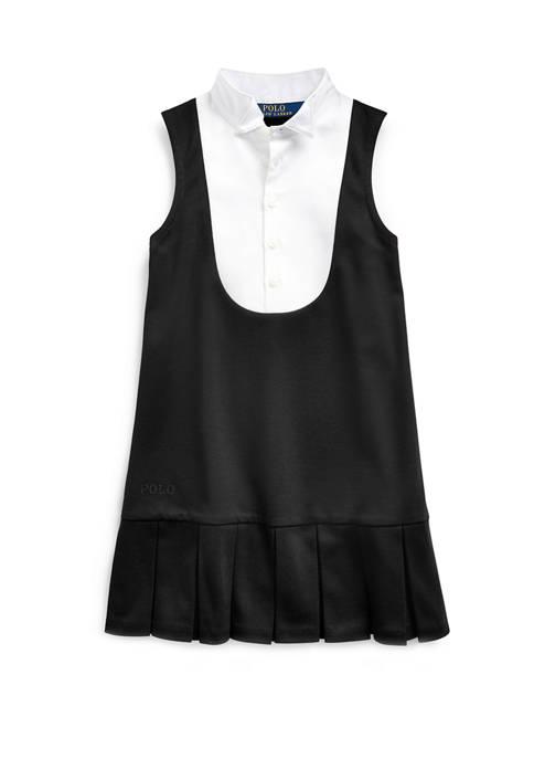 Ralph Lauren Childrenswear Girls 4-6x Tuxedo-Bib Ponte Dress