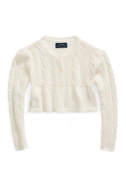 Ralph Lauren Childrenswear Girls 4-8 Cable Cotton-Blend Cardigan