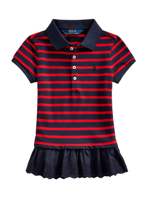 Ralph Lauren Childrenswear Girls 4-6x Eyelet-Hem Mesh Polo