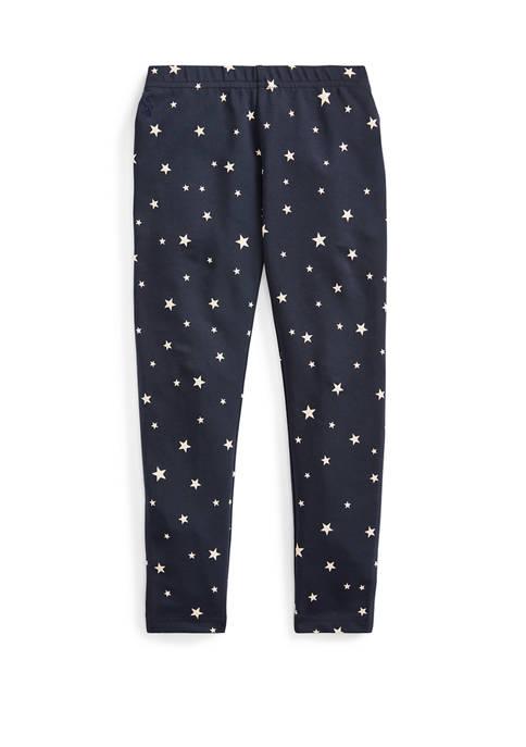 Girls 4-6x Star Print Stretch Cotton Jersey Leggings