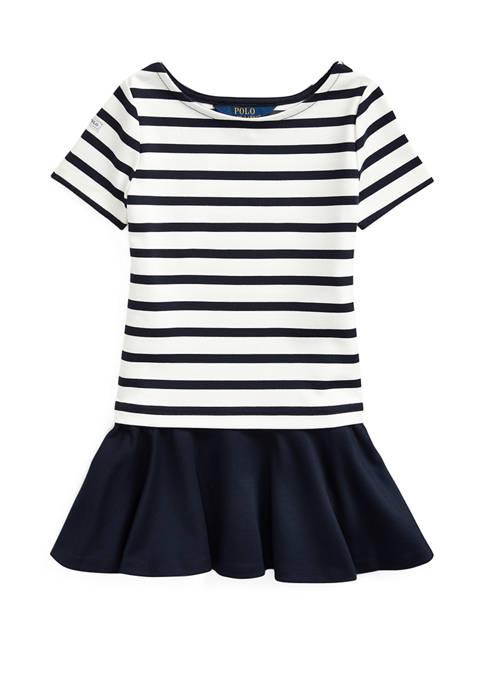 Girls 4-6x Striped Stretch Ponte Dress