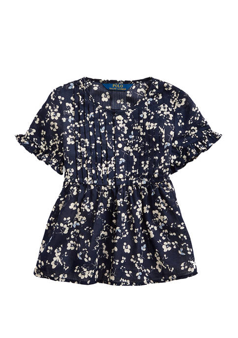 Ralph Lauren Childrenswear Girls 4-6x Floral Cotton Dobby