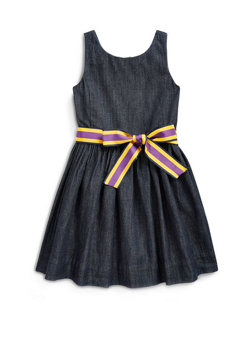 Girls 4-6x Cotton Twill Fit and Flare Dress