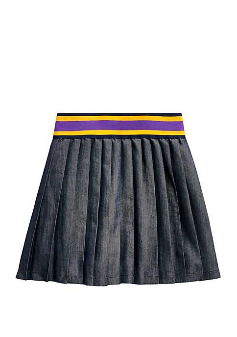 Girls 4-6x Pleated Cotton Blend Twill Skirt