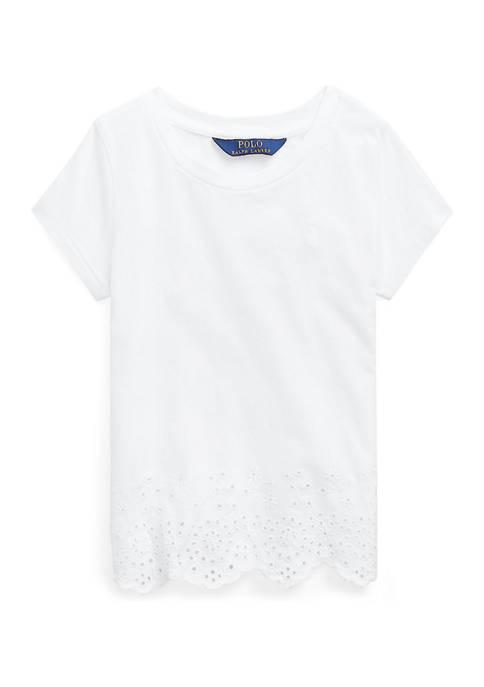 Girls 4-6x Eyelet-Hem Cotton Jersey Top