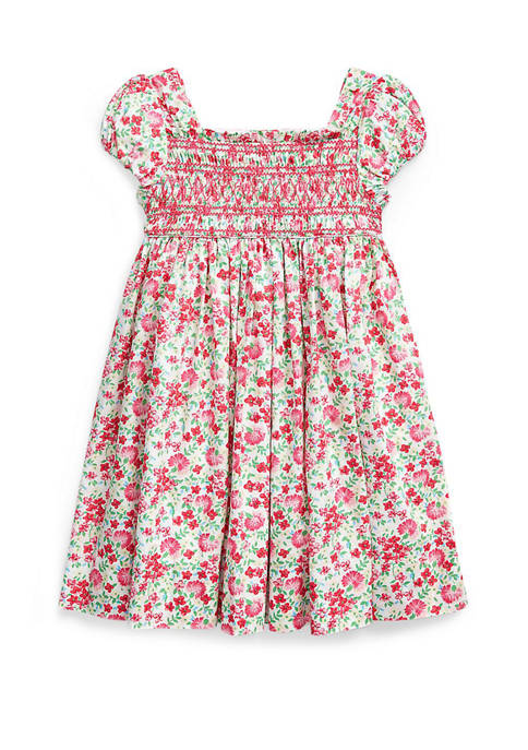 Girls 4-6x Floral Smocked Cotton Dress