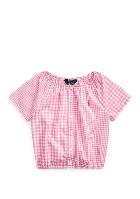 Ralph Lauren Childrenswear Girls 4-6x Mixed-Gingham Cotton Top