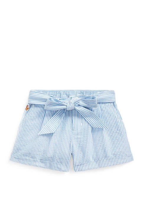 Ralph Lauren Childrenswear Girls 4-6x Belted Cotton Seersucker